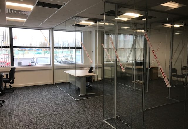 glass office partition installation